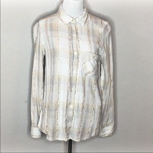 Mudd cream/gray w/ gold thread plaid - Size M
